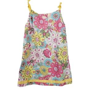 Hanna Andersson Summer Dress Ribbon Straps Floral